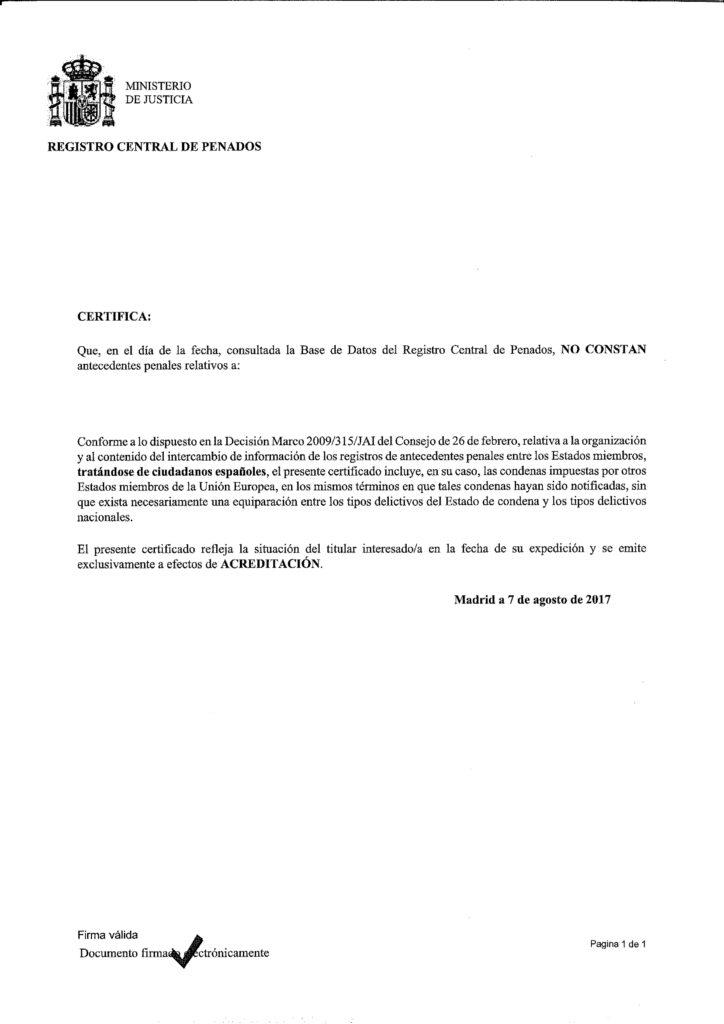 Traducción Jurada de Certificado de Penales